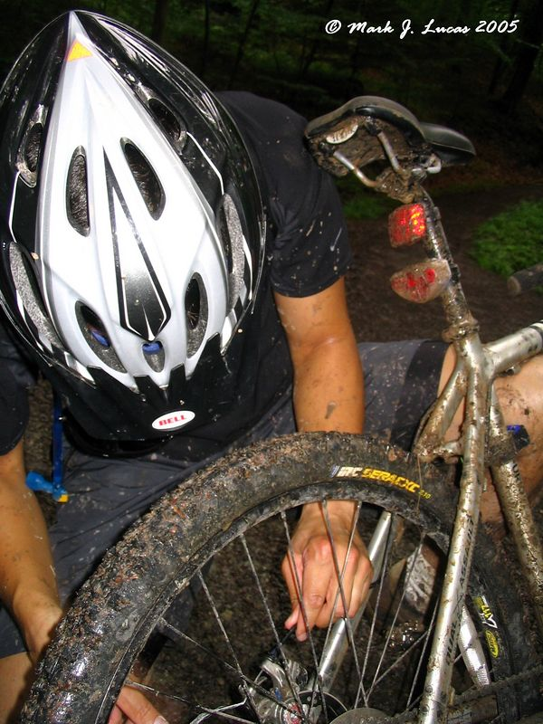 Jessie fixing his rear brake during the Holzgerlinen west loop ride