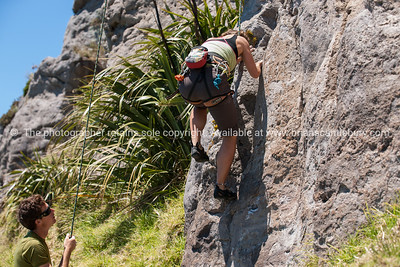 Rock climbing. Vaughan Jones.  Model Release; No. For personal and editorial use only.