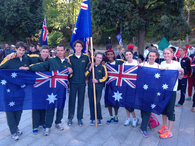 Australian mountain running team at opening ceremony. pic 1