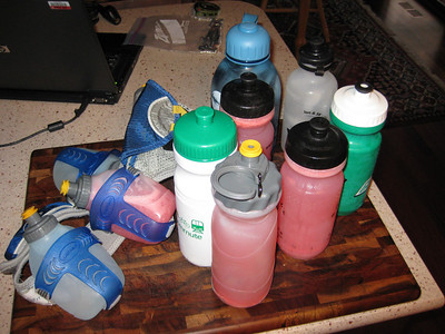 Just some of the fluids Matt consumed on the race.  This was supplemented by water, lemonade, or other opportunities to be found along the run.