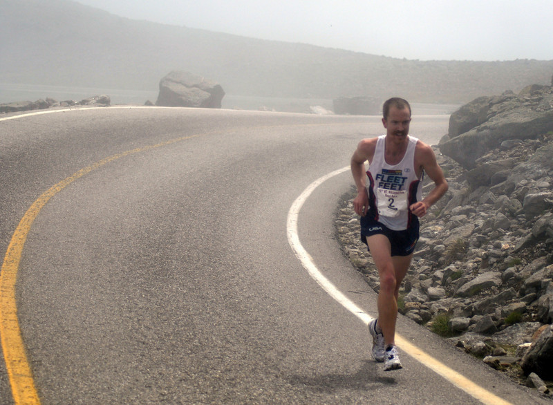 Eventual race winner, Rickey Gates, emerges from the fog above timber-line, during the 49th Mt. Washington Road Race, held on June 20th, 2009.