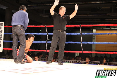 Referee declared 'no contest' after Sacpopo was unable to recover from an inadvertent blow.