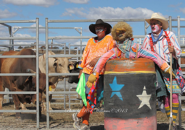 """Promoter and Bull-Fighter Matt Darmody with """"Ernie"""" and former champion Bull-Fighter Duncan Burleigh pictured behind the arena at the Murrumbateman Rodeo in February 2013."""