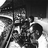 (L-R) John Vawter, KC Star, Dale Monaghe, UPI, Bill Straeter, AP in the Royals press box. 1973.