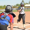 Matthew Gaston | The Sheridan Press<br /> Sheridan Mystix base runner Jolee Sorenson crosses home plate safely against the Gillette Blue Jays on Saturday, May 30, 2020.