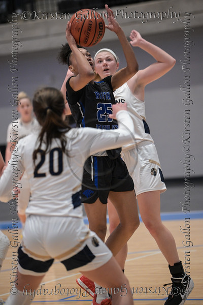 #25 N.Crowley forward Maiyah Watkins goes through the Keller defense to put up a jumper for two.