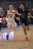 #25 N. Crowley forward Maiyah Watkins tries to make a steal as #11 Keller guard Renee Chmiel brings that ball up the court.