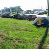 Camping outside of Turn 3.  Note the dumpster station above the tent.  And the slope.  And the proximity to the road.