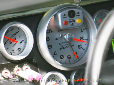 Jimmie Johnson's tachometer, yeah its upside down