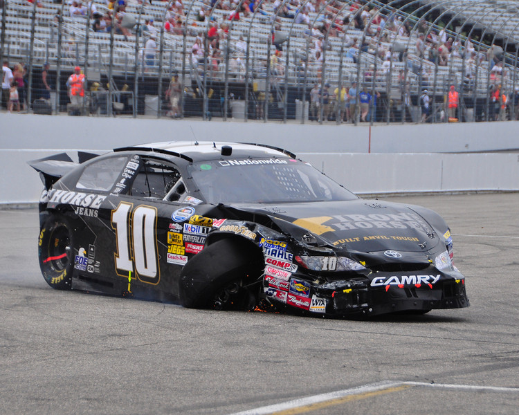 The NASCAR Nationwide Series came to New Hampshire Motor Speedway in Loudon, NH, with the New England 200, on June 26th, 2010. The #10 Ironhorse Jeans Toyota, driven by Tyler Malsam, was heavily damaged after a crash in turn #2.