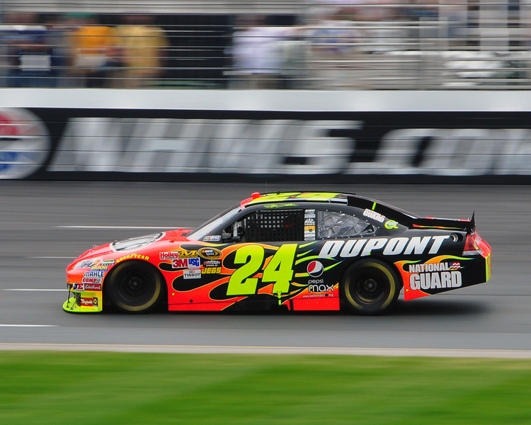 The NASCAR Sprint Cup Series came to New Hampshire Motor Speedway, in Loudon, on June 27th, 2010, for The Lennox Industrial Tools 301. Jeff Gordon, driver of the Dupont/Hendrick Motorsports Chevrolet, moves through turn 1 & 2, on his way to a 4th place finish.