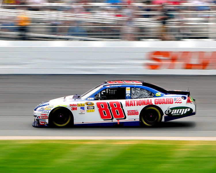 The NASCAR Sprint Cup Series came to New Hampshire Motor Speedway, in Loudon, on June 27th, 2010. Hendrick Motorsports driver Dale Earnhardt Jr, moves between turns 1 & 2, during the Lennox Industrial Tools 301.