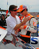 The NASCAR Sprint Cup Series came to New Hampshire Motor Speedway, in Loudon, on June 27th, 2010, for The Lennox Industrial Tools 301. Driver Joey Logano, of the #20 Home Depot/Joe Gibbs Racing Toyota, gets some encouragement from his dad Tom, prior to the start of the race.