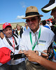 NASCAR Sprint Cup Series car owner, Jack Roush, signs autographs prior to the drivers meeting for The Sylvania 300, at New Hampshire Motor Speedway, in Loudon, NH. on September 25th, 2011.