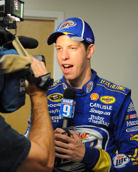 NASCAR Sprint Cup Series driver, Brad Keselowski, records a promotional announcement for WMUR, a Manchester, NH, television station, after a press conference in the Jack Ratta Media Center, at New Hampshire Motor Speedway, in Loudon, NH, on Friday, September 23rd, 2011, prior to his qualifying run for the Sylvania 300 race, held on September 25th, 2011.