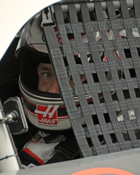 NASCAR Sprint Cup Series driver, Ryan Newman, peers out of his car, on Friday, September 23rd, 2011, after qualifying 1st for the Sylvania 300 race, held on September 25th, at New Hampshire Motor Speedway, in Loudon, NH.