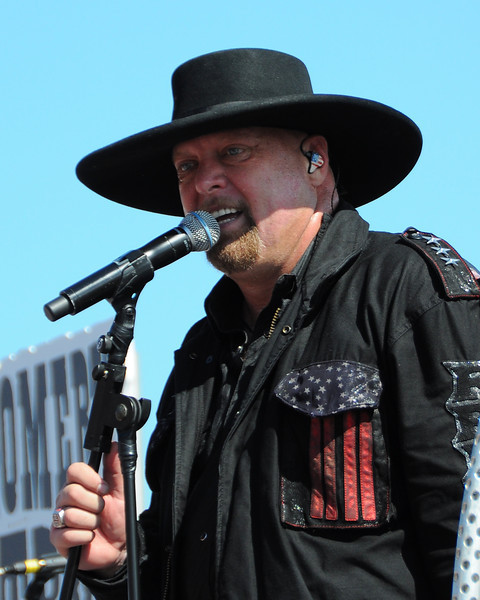 Eddie Montgomery, performs with the band Montgomery Gentry, prior to the NASCAR Sprint Cup Series race, The Sylvania 300, at New Hampshire Motor Speedway, in Loudon, NH. on September 25th, 2011.