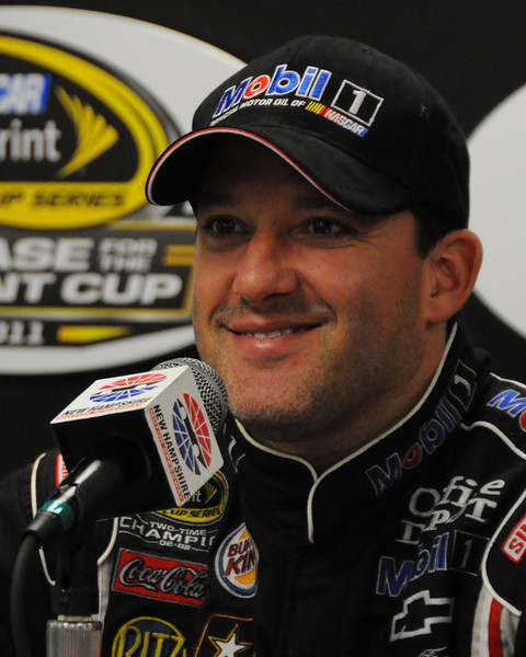 NASCAR Sprint Cup Series driver, Tony Stewart, speaks with the media, after winning The Sylvania 300, at New Hampshire Motor Speedway, in Loudon, NH. on September 25th, 2011.