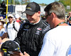 NASCAR Sprint Cup Series driver, Michael McDowell, signs a had for a fan, prior to The Sylvania 300, at New Hampshire Motor Speedway, in Loudon, NH. on September 25th, 2011.