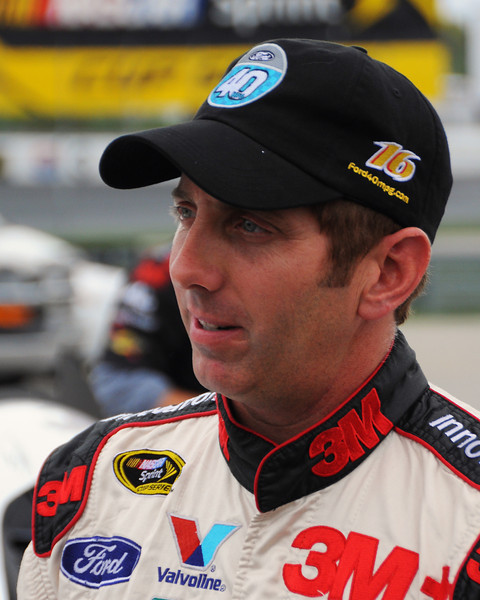 NASCAR Sprint Cup Series driver, Greg Biffle, talks with the press, after his qualifying session, on Friday, September 23rd, 2011, for the Sylvania 300 race, held on September 25th, at New Hampshire Motor Speedway, in Loudon, NH.