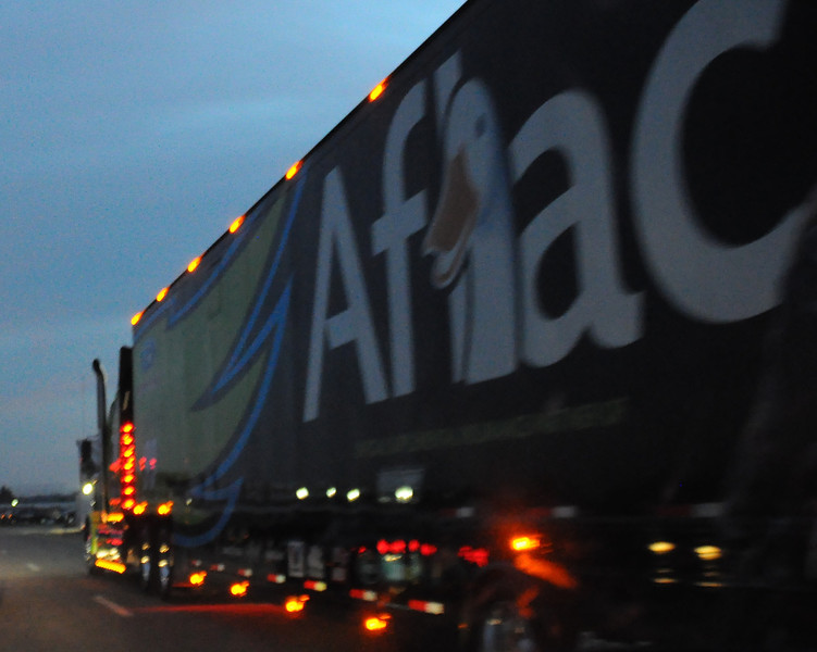 The car hauler of Aflac/Roush Racing #99 NASCAR Sprint Cup Series driver, Carl Edwards, leaves New Hampshire Motor Speedway, in Loudon, NH, after the conclusion of The Sylvania 300, on September 25th, 2011.