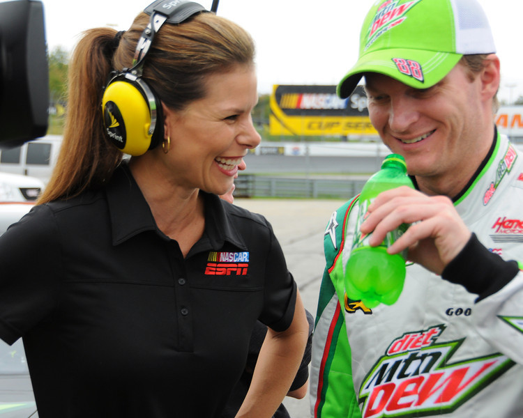 NASCAR Sprint Cup Series driver, Dale Earnhardt Jr. and ESPN reporter, Jamie Little, share a lighthearted momemt after his qualifying run, on Friday, September 23rd, 2011, to determine starting positions for the Sylvania 300 race, held on September 25th, at New Hampshire Motor Speedway, in Loudon, NH.