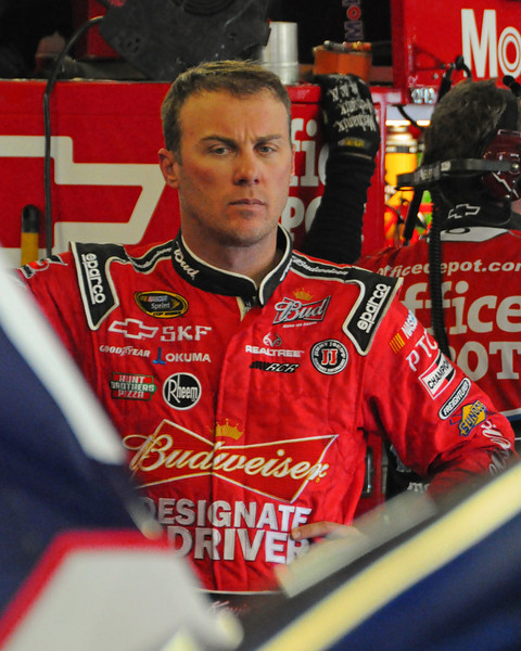 Nascar Sprint Cup Series driver, Kevin Harvick waits in the garage while his crew adjusts his car, during a practice session, on Friday, September 23rd, 2011, in preparation for the Sylvania 300 race, held on September 25th, at New Hampshire Motor Speedway, in Loudon, NH.