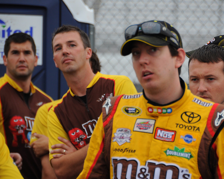 NASCAR Sprint Cup Series driver, Kyle Busch and crew, watch the scoreboard during qualifying, on Friday, September 23rd, 2011, for the Sylvania 300 race, held on September 25th, at New Hampshire Motor Speedway, in Loudon, NH.