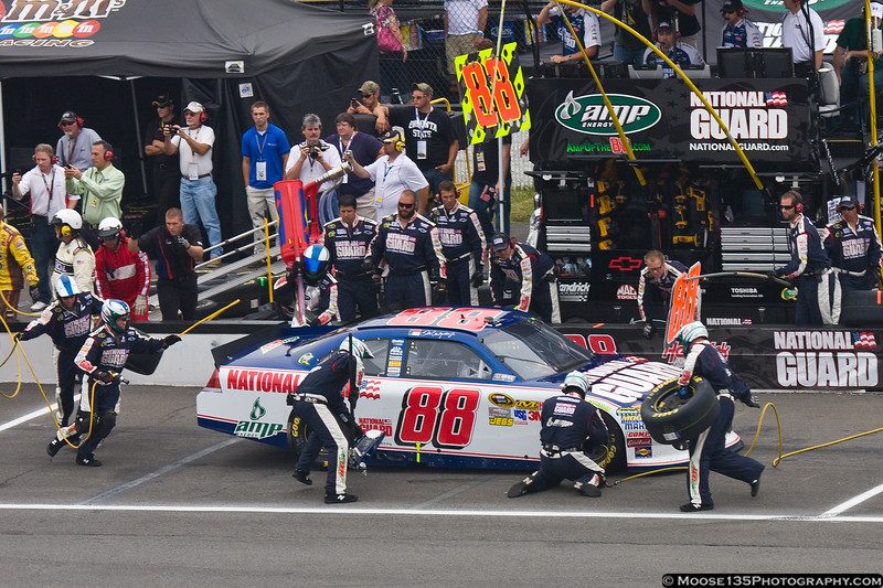 Dale Earnhardt, Jr. comes to the attention of his pit crew.