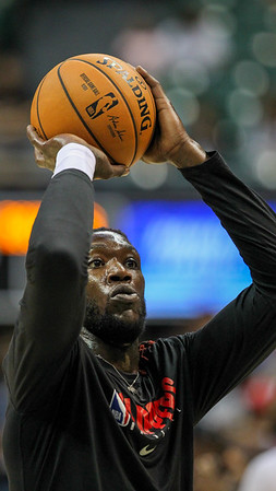 Clippers forward-center Montrezl Harrell practices free throws before a preseason game against the Houston Rockets on October 3, 2019, at the Stan Sheriff Center in Honolulu, Hawaii.