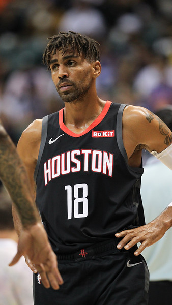 Thabo Sefolosha of the Houston Rockets stands with hands on hips during a preseason game against the Los Angeles Clippers on October 3, 2019, at the Stan Sheriff Center in Honolulu, Hawaii.