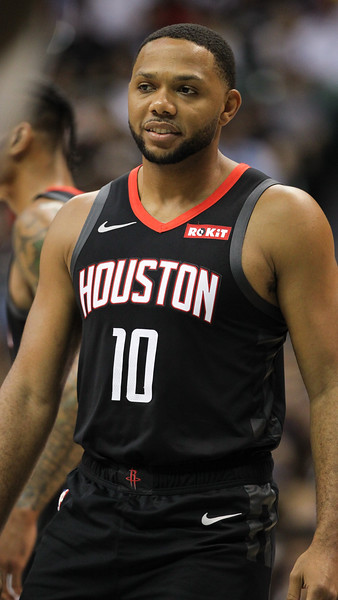 Houston guard Eric Gordon takes the floor in a preseason game against the Los Angeles Clippers on October 3, 2019, at the Stan Sheriff Center in Honolulu, Hawaii.