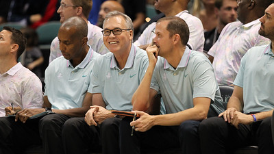 Rockets coach Mike D'Antoni smiles during a preseason game against the Los Angeles Clippers on October 3, 2019, at the Stan Sheriff Center in Honolulu, Hawaii.