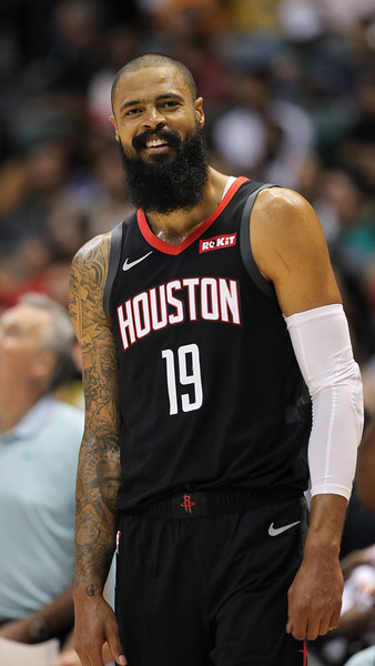 Rockets center Tyson Chandler smiles for the camera during a preseason game against the Los Angeles Clippers on October 3, 2019, at the Stan Sheriff Center in Honolulu, Hawaii.