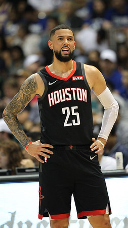 Austin Rivers of Houston stands with hands on hips in a preseason game against the Los Angeles Clippers on October 3, 2019, at the Stan Sheriff Center in Honolulu, Hawaii.