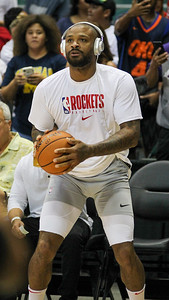 Houston's P.J. Tucker warms up before a preseason game against the Los Angeles Clippers on October 3, 2019, at the Stan Sheriff Center in Honolulu, Hawaii.