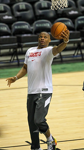 Rockets guard Russell Westbrook lays it up before a preseason game against the Los Angeles Clippers on October 3, 2019, at the Stan Sheriff Center in Honolulu, Hawaii.