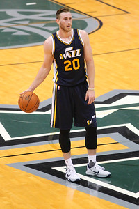 Jazz forward Gordon Hayward (20) dribbles at the top of the key during an NBA preseason game against the Lakers at the Stan Sheriff Center, Honolulu, HI on October 04, 2015.