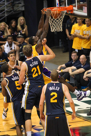 The Los Angeles Lakers play the Utah Jazz in 2015 NBA preseason basketball at the Stan Sheriff Center, Honolulu, HI on October 04, 2015.