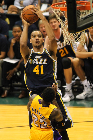 Trey Lyles (41) of the Jazz shoots over Lou Williams (23) of the Lakersduring an NBA preseason game at the Stan Sheriff Center, Honolulu, HI on October 04, 2015.