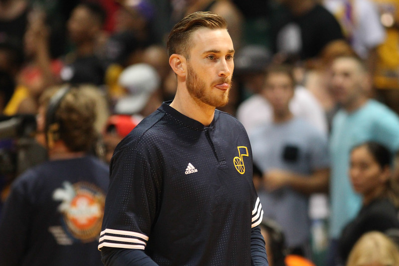 Gordon Hayward of the Utah Jazz warms up before an NBA preseason game against the Los Angeles Lakers at the Stan Sheriff Center, Honolulu, HI on October 04, 2015.