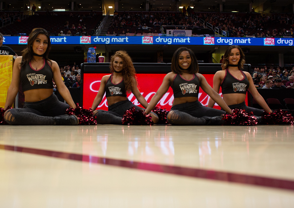 . Michael Johnson - The News-Herald The Cavaliers girls at the Eastern Conference Finals watch party at the Quicken Loans Arena on May 13, 2018.