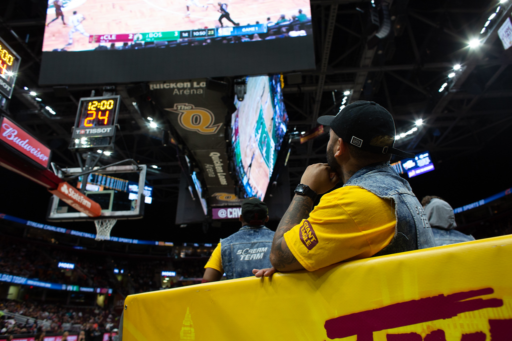. Michael Johnson - The News-Herald The Scream Team watches game 1 of the Eastern Conference Finals  during a watch party at the Quicken Loans Arena on May 13, 2018.