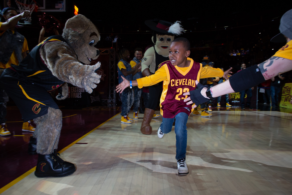 ". Michael Johnson - The News-Herald Cameron Taylor runs out on the court after being introduced as ""LeBron James\"" during a watch party at the Quicken Loans Arena on May 13, 2018."