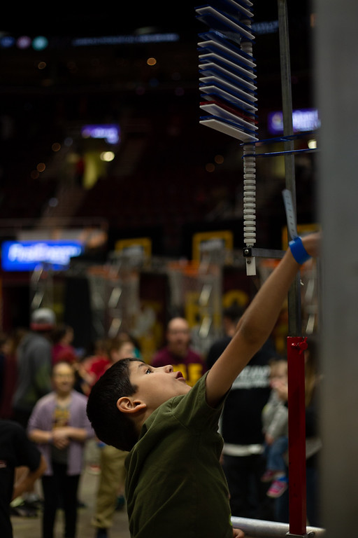 . Michael Johnson - The News-Herald Santi Mireles tests his vertical during the Eastern Conference Finals watch party at the Quicken Loans Arena on May 13, 2018.
