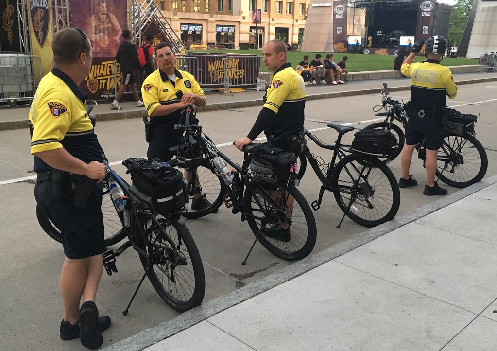 . Cleveland Police bicycle unit,  near The Q, Game 1 Watch Party. David S. Glasier - The News-Herald
