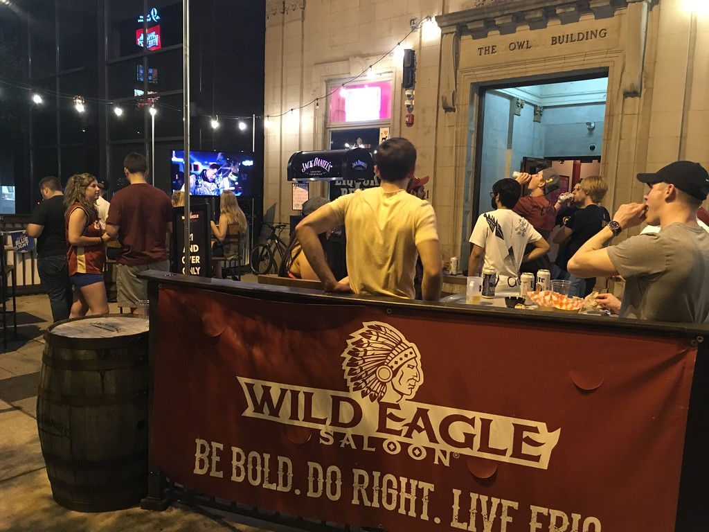 . Fans watching the Game 1 action at Wild eagle Saloon, Huron Road. David S. Glasier - The News-Herald