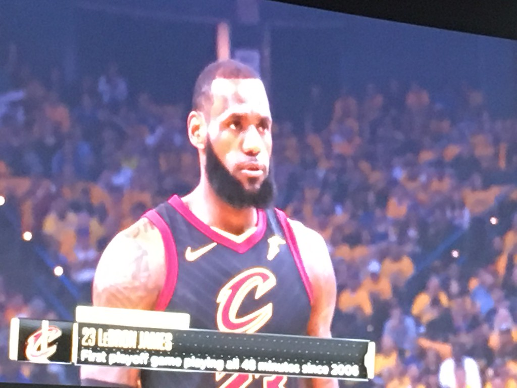 . LeBron on the Humongotron, Game 1 Watch Party. David S. Glasier - The News-Herald