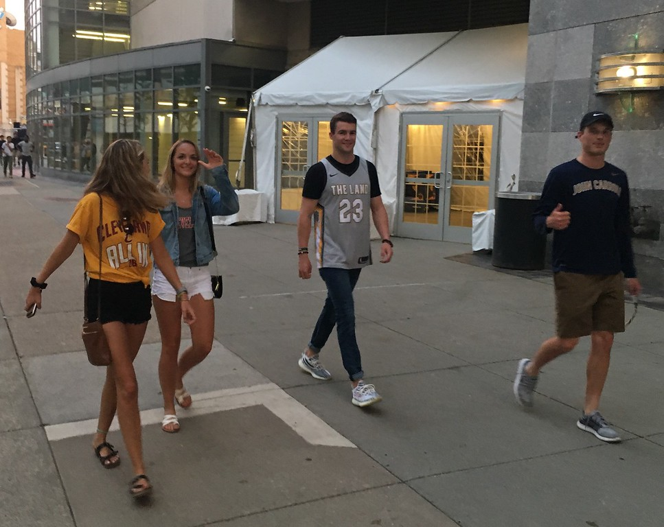 . Young fans making their way into The Q, Game 1 Watch Party. David S. Glasier - The News-Herald