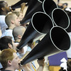 Fort Hays State cheerleaders use bullhorns to get the crowd into the game Saturday. Pat Christman
